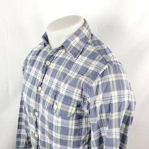 J Crew Mens Button Front Shirt XS L/S Blue Plaid